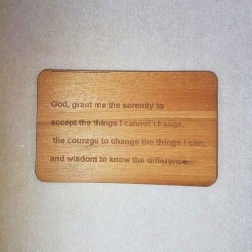 Image pf a Serenity Prayer WoodenBetOnIt Card