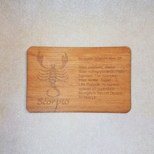 Image of a Scorpio WoodenBetOnIt Card