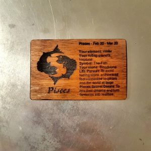 Pisces WoodenBetOnIt Card Zodiac Star Signs