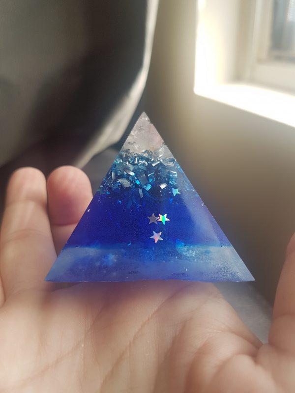 Deep Blue Quartz Silver and Copper Orgonite Pyramid 6cm 1