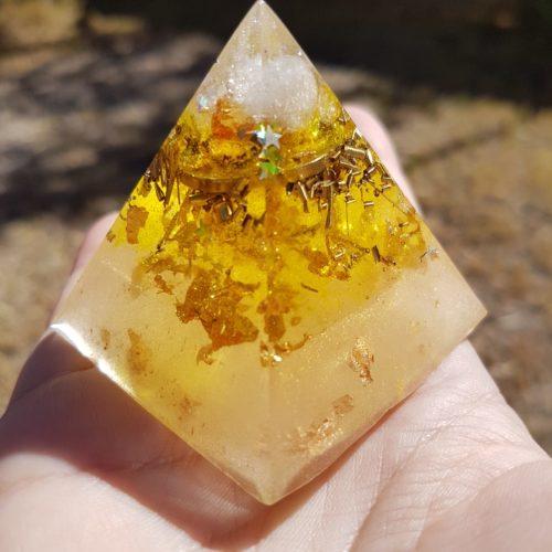 Golden Ray Quartz and Gold Orgoneit Pyramid