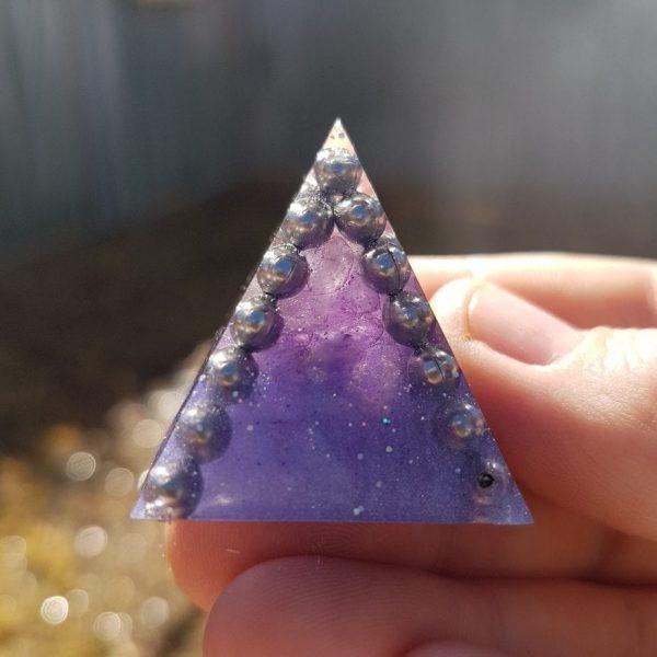 Purple Steel and Amethyst Orgoneit Pyramid 3cm 1