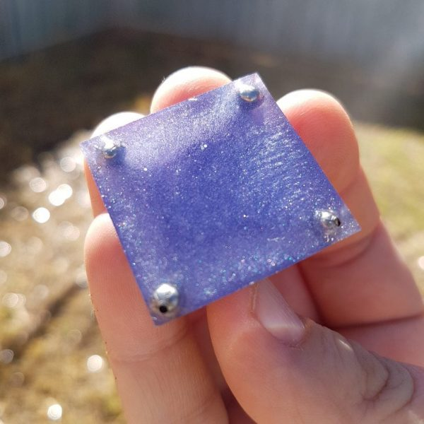Purple Steel and Amethyst Orgoneit Pyramid 3cm 2