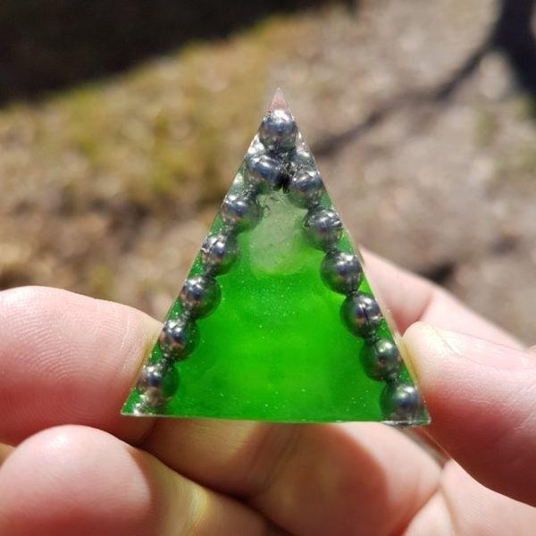 Krypton Moonstone Quartz and Steel Orgoneit Pyramid 3cm 1