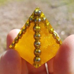 Sunburst Moonstone Quartz and Steel OrgoneIt Orgonite Pyramid 3cm