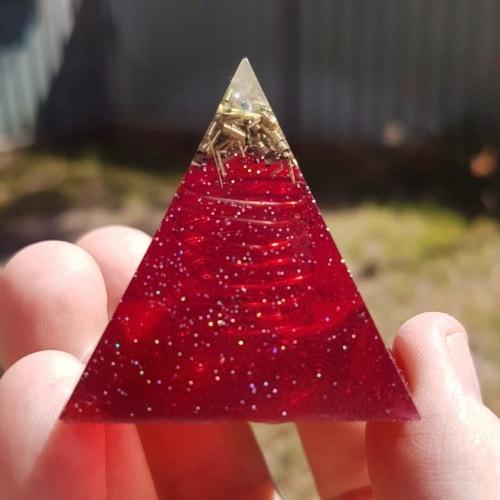 Bewitching Tourmaline Brass Copper OrgoneIt Orgonite Pyramid 4cm 1