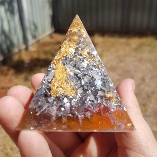 Silver Shadow Quartz and Gold Orgoneit Pyramid 6cm 1