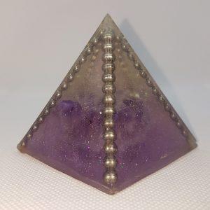 Amethystine Prophesy Amethyst Steel Quartz Orgonite Pyramid 6cm