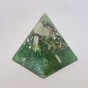Tourmaline Me Baby Moonstone Silver OrgoneIt Orgonite Pyramid 4cm