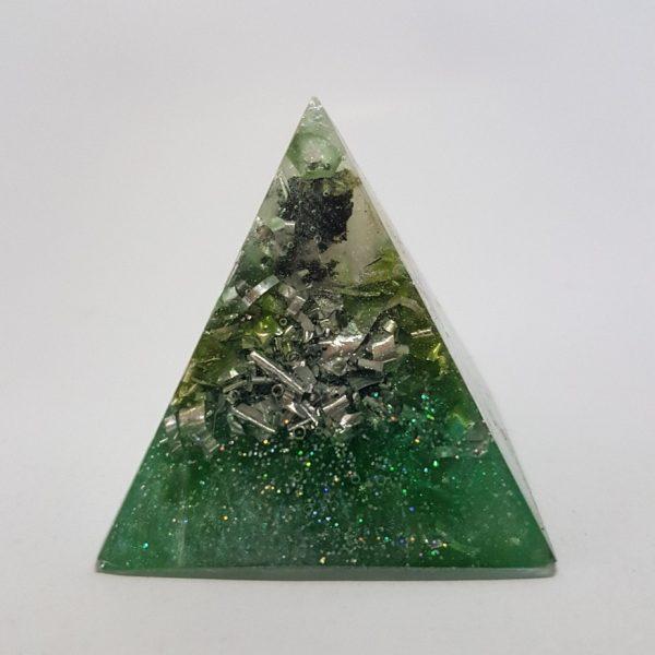 Tourmaline Me Baby Moonstone Silver OrgoneIt Orgonite Pyramid 4cm 1