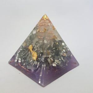 Purple Hazing Copper Quartz and Gold Orgoneit Pyramid