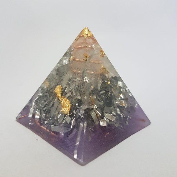 Purple Hazing Copper Quartz and Gold Orgoneit Pyramid