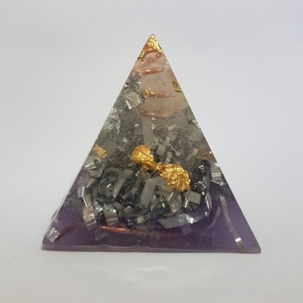 Purple Hazing Copper Quartz and Gold Orgone Pyramid 6cm 1