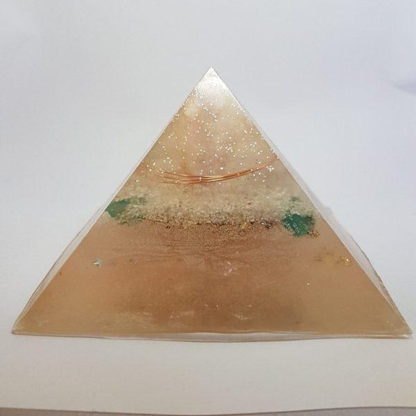 Peaceful Warrior Rose Quartz Fluorite OrgoneIt Orgonite Pyramid 9.5cm 1
