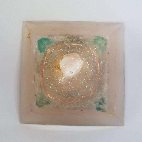 Peaceful Warrior Rose Quartz Fluorite OrgoneIt Orgonite Pyramid 9.5cm 2