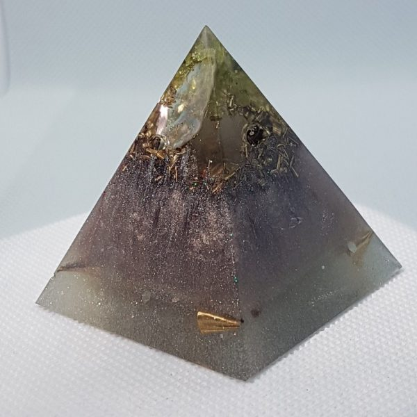 Peaceful Warrior Orgone Orgonite Pyramid 5cm - Heart of beating of Quartz and Aquamarine in Brass, Paua (NZ abalone) herkimer diamonds for strength!