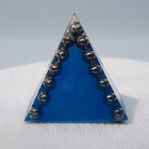 Cobalt Moonstone Quartz and Steel Orgoneit Pyramid 3cm 1