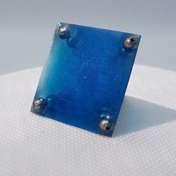 Cobalt Moonstone Quartz and Steel Orgoneit Pyramid 3cm 3