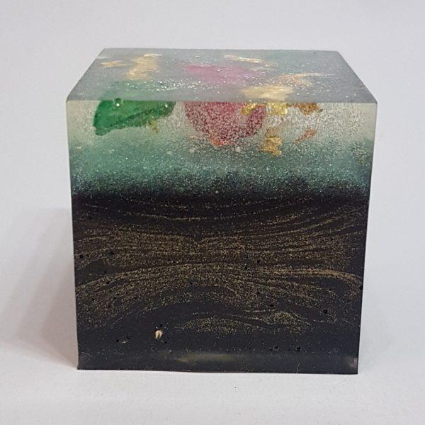 Rose Petal Malachite OrgoneIt Orgonite Cube 4cm 1