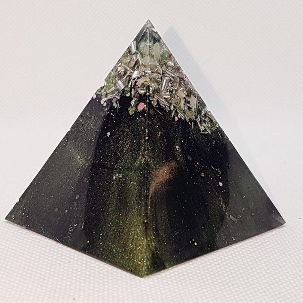 Chrysalis Shungite Orgone Orgonite Pyramid 6cm - Aquamarines, Green Tourmalines and Fluorite combined with Herkimer Diamonds, lovingly wrapped in silver and Shungite powder, rebirth!