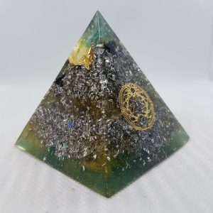 Khazad-dûm Orgone Orgonite Pyramid 6cm - Gorgeous Chrysoprase on top of 24 Carat Gold and aluminium, 2 types of Tourmaline, Herkimer Diamonds, mixed with pure silver, on a layer of Aluminum and large Rose Quartz in the centre