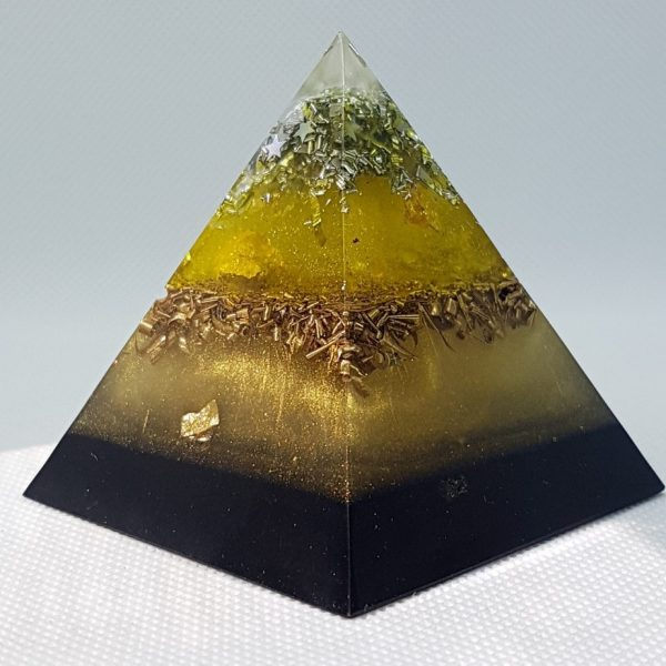 Golden Ore Orgone Orgonite Pyramid 6cm - With Golden hues wrapped Quartz Point, Herkimer Diamonds, Silver, and 24 Carat gold, brass and SHUNGITE to protect and project!