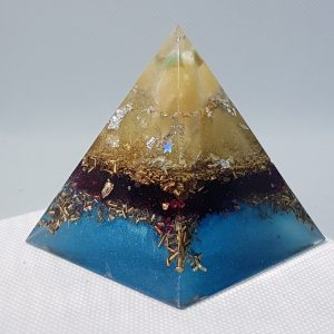 Moroccan Veils Orgone Orgonite Pyramid 6cm - With a heart of Silver wrapped Citrine, Herkimer Diamonds, Silver, Brassto take your mind away to a foreign land