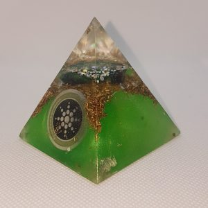 Two Worlds Collide Orgone Orgonite Pyramid 6cm - Quartz Point combined with Herkimer Diamonds, Chrysocolla with Malachite and Brass