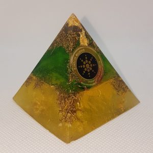Earthling Orgone Orgonite Pyramid 6cm - Rose Quartz Point combined with Herkimer Diamonds, Copper, Brass, Scalar Wave Protection