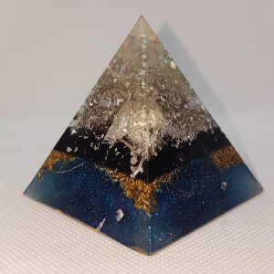 Sedimentary Layers Orgone Orgonite Pyramid 6cm - Gorgeous and profound Herkimer Diamonds, mixed with pure silver, on a layer of Shungite, then Brass for EMF assistance
