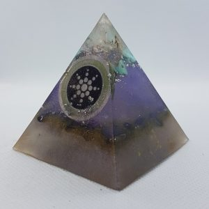 Main Sequence Orgone Orgonite Pyramid 6cm - Herkimer Diamonds on top of turquoise and silver, scalar wave technology, then Hematite for Grounding, manifestation, focus