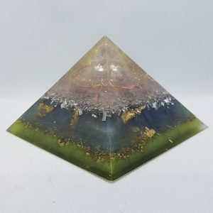 Flowing Waters II Orgonite Orgone Pyramid 9.5cm | A heart of Quartz you can stare into and lose yourself for a moment, Herkimer Diamonds for uber protection! layers of copper, 24 carat gold and brass for all around epic!