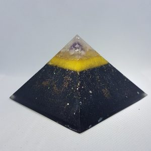 Blackened Thunder Orgonite Orgone Pyramid 9.5cm | A heart of Amethyst, Moonstone and Herkimer Diamonds, and Shungite for uber protection!