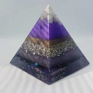 Stellar Awakening Orgone Orgonite Pyramid 6cm - Moonstone and Howlite on top of Amethyst with Herkimer Diamond, silver, aluminium and gold
