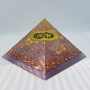 Kulkulkan Orgone Orgonite Pyramid 7cm Giza - Scalar Energy, Herkimer Diamonds, on top of a huge Rose Quartz Chunk, wrapped in copper for Strength and EMF protection. Deep healing