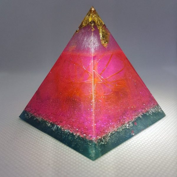Freed of Shackles Orgone Orgonite Pyramid 6cm - Tranquil and Loving Rose Quartz all wrapped up in Copper Ball with Herkimer Diamonds, Celestite and a touch of gold for emf protection