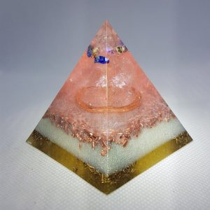Danube Orgone Orgonite Pyramid 6cm - Lapis Lazuli, Herkimer Diamonds, A Quartz Point and Lead Crystals, Copper Tensor Ring and Brass to complete it