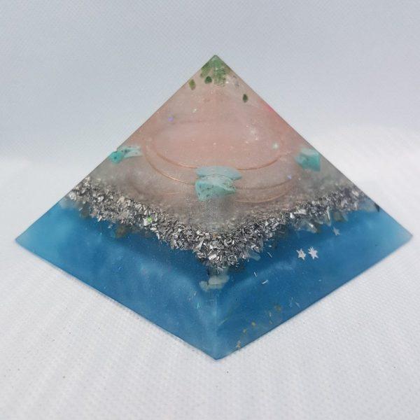 Holy Giza Green Adventurine Turquoise Rose Quartz Pyramid 9.5cm 2