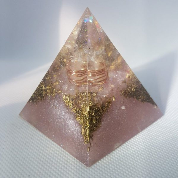 Persephone Orgone Orgonite Pyramid 6cm - Clear Quartz Point wrapped in Copper, on a bed of Rose Quartz and Brass for love, protection and happiness