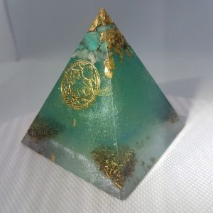 Under the Turquoise Sky Orgone Orgonite Pyramid 6cm - Gold, Moonstone and Turquoise with Sacred Geometry, Rose Quartz with Brass and Silver.