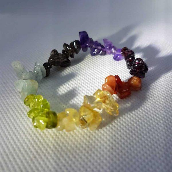 Rainbow Multi Crystal Chip Bracelet