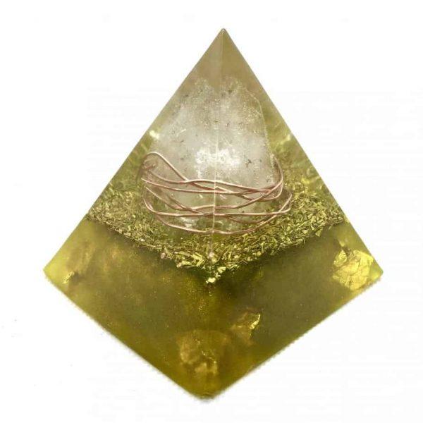 Solar Flare Golden Orgone Orgonite Pyramid 6cm