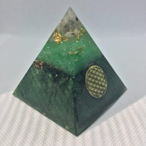 Jungle Clarity Orgone Orgonite Pyramid 6cm - Moonstone, Herkimer Diamonds, with Gold leaf and Sacred Geometry, on a Shungite, Copper and Brass base.