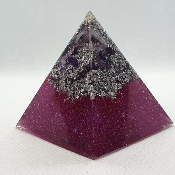 Obscured by Amethyst Orgone Orgonite Pyramid 6cm - A number of Amethyst Points with a Herkimer Diamond, layer of silver and aluminium, Herkimer Diamonds and a Quartz Chunk to bring focus