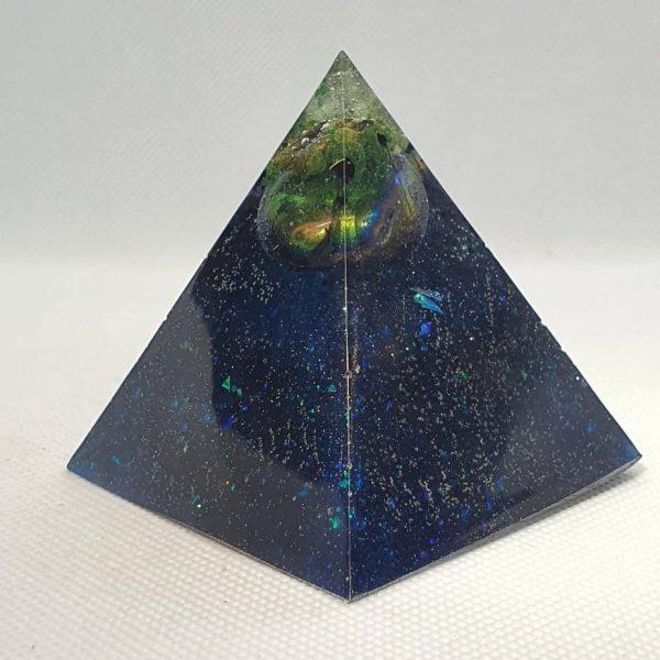 Blue Velvet Orgone Orgonite Pyramid 6cm - Green Adventurine, Titanium Aura Quartz, Shungite goodness