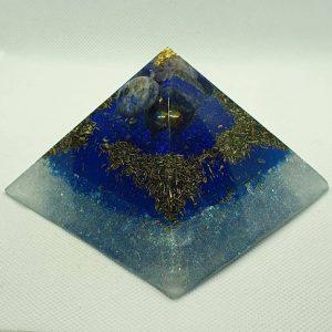 Sea and Stars Lapiz Lazuli Giza Pyramid 9.5cm - Gold atop of Amazing Lapis Lazuli,Titanium Aura Quartz,Brass and Herkimer Diamonds for deep thought and clarity