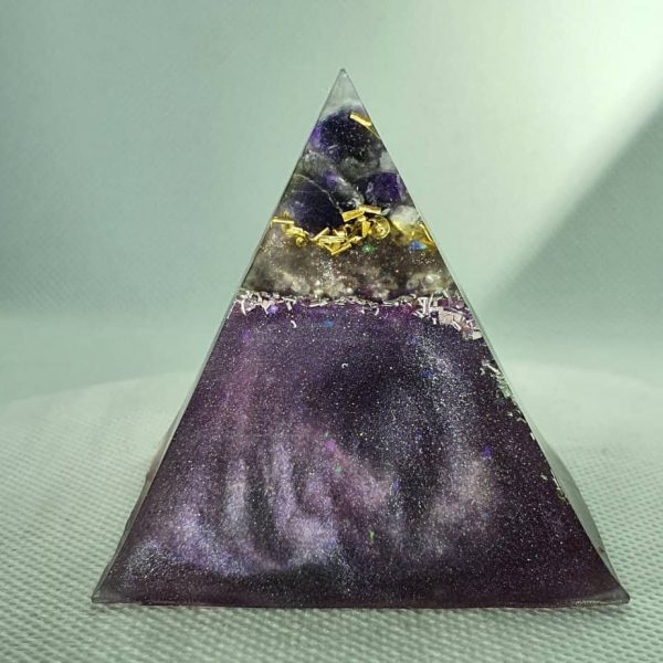 When the World Turns Amethyst Orgonite Pyramid 6cm 1