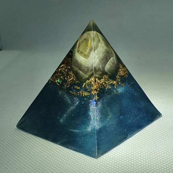 Angel Blue Lace Agate Orgone Orgonite Pyramid 6cm - Blue Lace Agate, Herkimer Diamond and Quartz Point, with Brass