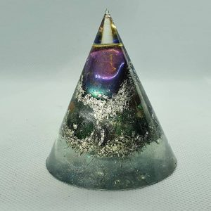 Wondrous Rainbow Orgone Energy Orgonite Cone 6cm