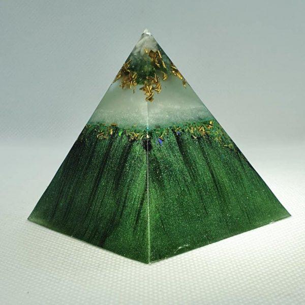 Godafoss Icelandic Hues Orgone Orgonite Pyramid 6cm - Amazonite, Green Adventurine, Herkimer Diamonds, Brass, Titanium Powder, Shungite and more!...